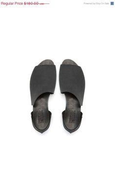 Black asymmetrical summer shoes by WalkByAnatDahari on Etsy