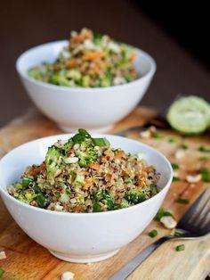 35 minute Vegan Thai Veggie Quinoa Bowls Recipe - think health in a bowl. A quick and easy weeknight dinner bursting with flavor. Vegan + Gluten Free.