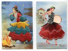 embroidered postcards antique elsi gumier   Vintage Spanish Flamenco Dancer Elsie Gumier Embroidered Stitched ...
