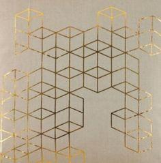 Stoff Oeko-Tex Grafik Gold als Bild, Kissen u.ä.