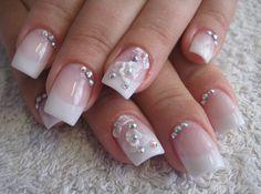 White rose fingernails. Gorgeous.