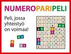 Helppo Numeroparipeli ryhmätoimintaan | RyhmäRenki Teaching Aids, Brain Training, Place Values, Math For Kids, Thinking Skills, Brain Teasers, Math Games, Diy Projects To Try, Periodic Table