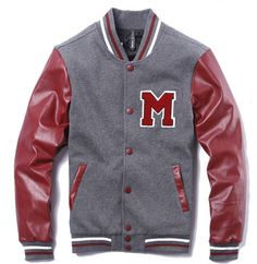Red Grey Mens Letter M Leather Sleeves Cotton Jacket [Mens Letter M Jacket] - $109.00 : Varsity Jackets Sale, Mens Baseball Jackets Outlet