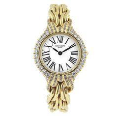 PATEK PHILIPPE Gold Ladies Bracelet Diamond Bezel Ref 4836/003