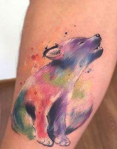 baby wolf tattoo © tattoo artist Javi Wolf 💕💕💕💕 wolf tattoo ideas 50 Of The Most Beautiful Wolf Tattoo Designs The Internet Has Ever Seen Aquarell Wolf Tattoo, Watercolor Wolf Tattoo, Baby Tattoos, Family Tattoos, Body Art Tattoos, Son Tattoos, Mouse Tattoos, Arrow Tattoos, Print Tattoos
