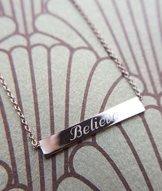 Engrave the bar plate for a personalised necklace. Trendy and at a fantastic price, we delivery next day! Engrave your name, initials or special date. 24k Gold Jewelry, Sterling Silver Jewelry, Jewellery, Gold Bar Necklace, Arrow Necklace, Personalized Gold Necklace, Or Rose, Rose Gold Plates, Delicate