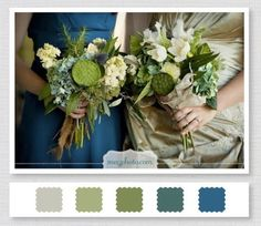 Olive green and blue - Tulane colors! Also a beautiful wedding palette.