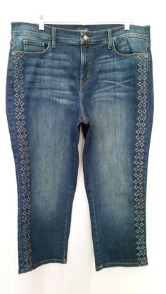 2b3755dc NYDJ Cropped Jeans ALINA Capri Lift X Tuck Tech Dark Indigo Embroidered 16