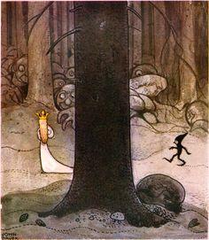 """""""Sagan om Dag och Daga och flygtrollet på Skyberget"""" av Harald Östenson from """"Bland Tomtar och Troll"""" 1907, illustrated by John Bauer"""