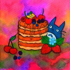 """Mini totoro loves pancakes"" Watercolor by Meri Esmatges."