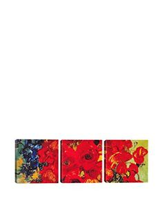 Vincent Van Gogh Vase With Daisies & Poppies (Panoramic) 3-Piece Canvas Print