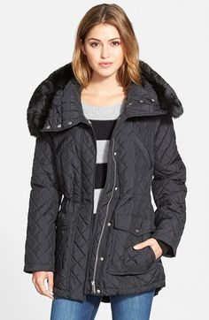 DKNY Faux Fur Trim Quilted Parka (Online Only) available at #Nordstrom