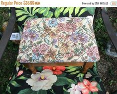 XmasSalesNOW New Price Floral uphostry solid wood vintage