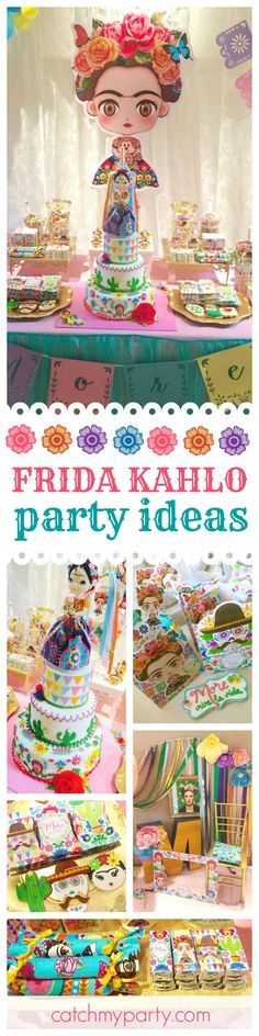 Don't miss this colorful & vibrant Frida Kahlo Mexican birthday party! The birthday cake is amazing!! See more party ideas and share yours at CatchMyParty.com