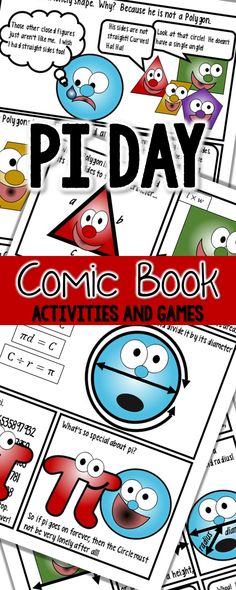 Pi Day Activities for elementary students!  Need ideas for celebrating Pi Day with your 4th grade, 5th grade, and 6th grade students?  Try this fun polygons vs circles comic book, venn diagram and game!