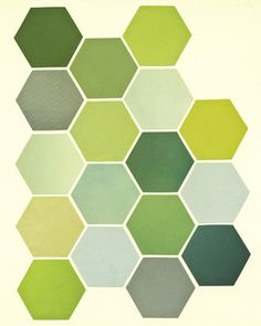 Retro Wall Art Geometric Art Print Hexagon by CassiaBeckCollage