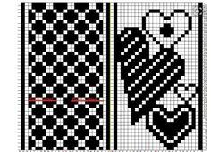 Not Your Granny: Sydämelliset lapaset Knitting Charts, Loom Knitting, Knitting Stitches, Knitting Designs, Knitting Patterns, Mittens Pattern, Knit Mittens, Christmas Crochet Patterns, Chart Design