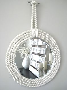 I love nautical decor. Nautical rope is an excellent way to incorporate natural fiber into your home decor. All decorations with nautical inspired sisal rope are so cute and they can give a special charm to your home. Check out these fantastic diy decora Nautical Home Decorating, Coastal Decor, Decorating Your Home, Decorating Ideas, Nautical Bedroom Decor, Nautical Nursery, Nautical Theme Bathroom, Coastal Living, Coastal Furniture