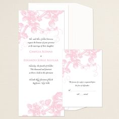 Delicate Roses Wedding Invitation | #exclusivelyweddings | #pinkwedding
