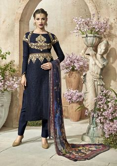 Navy Blue Cotton Jacquard Pakistani Style Suit 69873