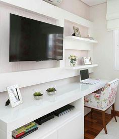 Home Office Quarto Parede Best Ideas Home Office Design, Home Office Decor, Home Decor, Home Bedroom, Bedroom Decor, Bedrooms, Small Home Offices, Interior Design Living Room, Poltrona Floral