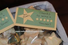 "Teacher appreciation gifts. ""Thanks for being a 5 star teacher!"" With star short bread cookies."