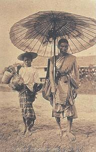 Siam 1906 Monk and helper