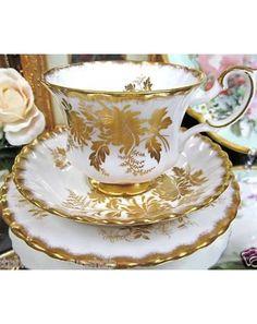 gold Royal Albert Tea Cup and Saucer Trio Golden Rose Antoinette Vintage Crockery, Antique Tea Cups, Vintage China, Royal Albert, Teapots And Cups, China Tea Cups, My Cup Of Tea, Tea Cup Saucer, Drinking Tea