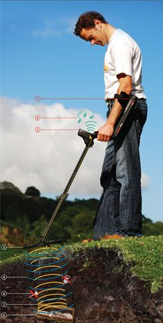 Metal Detector is a device to locate hidden metal parts, pipes and electrical conductors on land and under water, usually has a electronic circuit and a coil. Metal Detectors For Kids, Garrett Metal Detectors, Underwater Metal Detector, Gold Mining Equipment, Metal Detecting Tips, Gold Prospecting, Cool Technology, Outdoor Fun, Metal Working