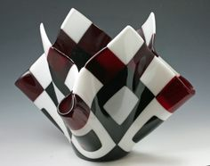 """Fused Glass Vase - Large 2"""" checkerboard of black white and transparent red.  This beautiful vase is a perfect center piece.  It is the perfect wedding, house warming or just because gift.  All pieces are one of a kind and She Got Glass offers Bespoke Design"""