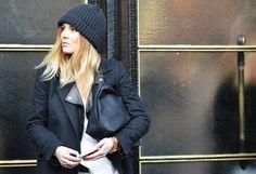 black beanie and blonde hair