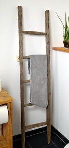 [417] Antike Leiter, Holzleiter, braun, grau, Handtuchhalter | eBay