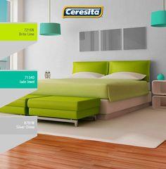 #habitación #matrimonio #deco #decoración #azul #colores #pintura #Ceresita #CeresitaCL #PinturasCeresita Códigos de color sólo para uso referencial. Los colores podrían lucir diferentes, según calibrado de su monitor.