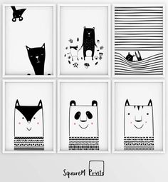 SCANDINAVIAN BLACK AND WHITE PRINT | WOODLAND MONOCHROME ILLUSTRATION | KIDS POSTER | ANIMAL ART | IN THE FOREST
