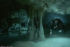 Martyn's diving companions, Robbie Schmittner, in a huge flooded cave in Mexico Deep-dark-dangerous-Incredible-pictures-Martin-Farr-Britains-best-cave-diver.html#ixzz2eQGK5ac0