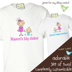 big sister little brother shirts matching sibling stick figure shirts - for any big little combination. $32.00, via Etsy.
