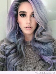 Iced blue, lilac and silver tones with a grey sweater