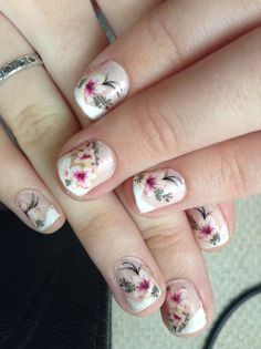 French Manicure with Water Nail Decals! #French #manicure #flowers #waterdecals #nailart
