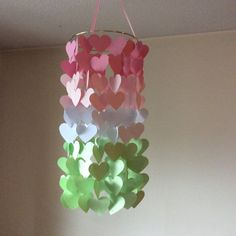 Heart Shaped Paper mobile. Pink and Mint Ombre by KraftynKatchy