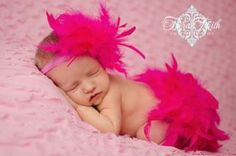 Hot Pink Feather Couture Diaper Cover Bloomer & Headband Fabulous Spring, Summer, Birthday, Cake Smash or New Baby Photo Session Prop on Etsy, $47.00