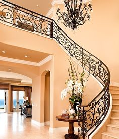 Mediterranean Staircase Design Ideas, Pictures, Remodel and Decor - Interior Designs Foyer Staircase, Iron Staircase, Curved Staircase, Staircase Design, Wrought Iron Stairs, Tuscan House, Mediterranean Decor, Mediterranean Architecture, Foyer Decorating