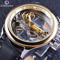 >>>Up to 80% Discount<<< Forsining 2017 Steampunk Mechanical Wristwatch Automatic Self-wind Watch Black Genuine Leather Sport Watch Waterproof Clock Men – 24hr.Watch