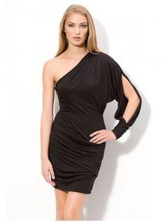 knee length black one shoulder dress - Google Search