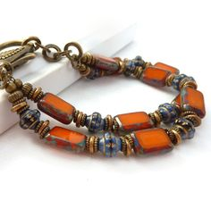 Bright orange multistrand bracelet