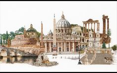 Thea Gouverneur Rome - Cross Stitch Kit. Complete kit includes 36 count white linen fabric, thread, needle and instructions. Finished size is 32 x 20.