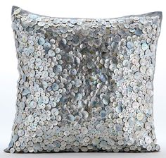 Luxury Pearl Throw Pillows Cover, 16x16 Silver Silk Pillow Covers, Square Mother Of Pearls Pillow Cover - Blue Fire Pearl ________________________________________________________________________  The design Blue Fire Pearl has been conceptualized and created, keeping in mind the finest details and needs to decorate your beautiful abode. It is a perfect addition to enhance your living room, bedroom, guestroom or office. I promise it will give a WOW factor to you and your guests visiting your…