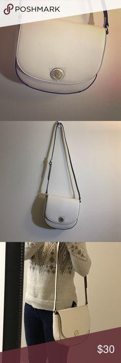 White crossbody. 30% off over $100. Anne Klein crossbody bag in white. Has enough space for phone, wallet and anything you might want to carry. Brand new with all original plastic attached to zippers. Anne Klein Bags Crossbody Bags