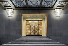 Entrance of Villa Empain, Brussels, Belgium, by Michel Polak. Art Deco.