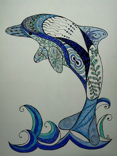 Zentangle Dolphin - pen & colored pencil