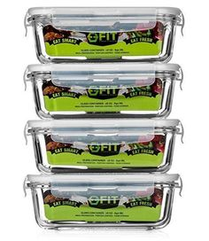 Glass Meal Prep Containers with Vented Lids (4 Pack) - Food Storage Containers | Portion Control | BPA Free, Microwave, Oven, and Dishwasher safe | Airtight and Leakproof Lids | Reusable Lunch Box